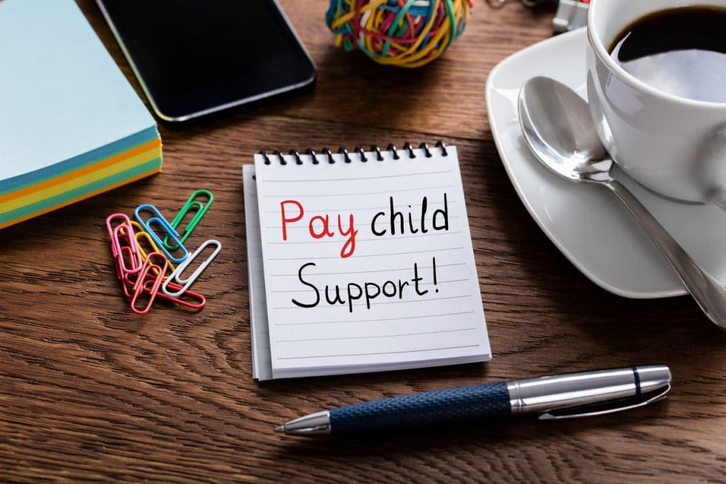 Pay Child Support Written On Notepad